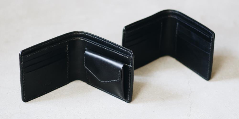 黒い革の財布たち